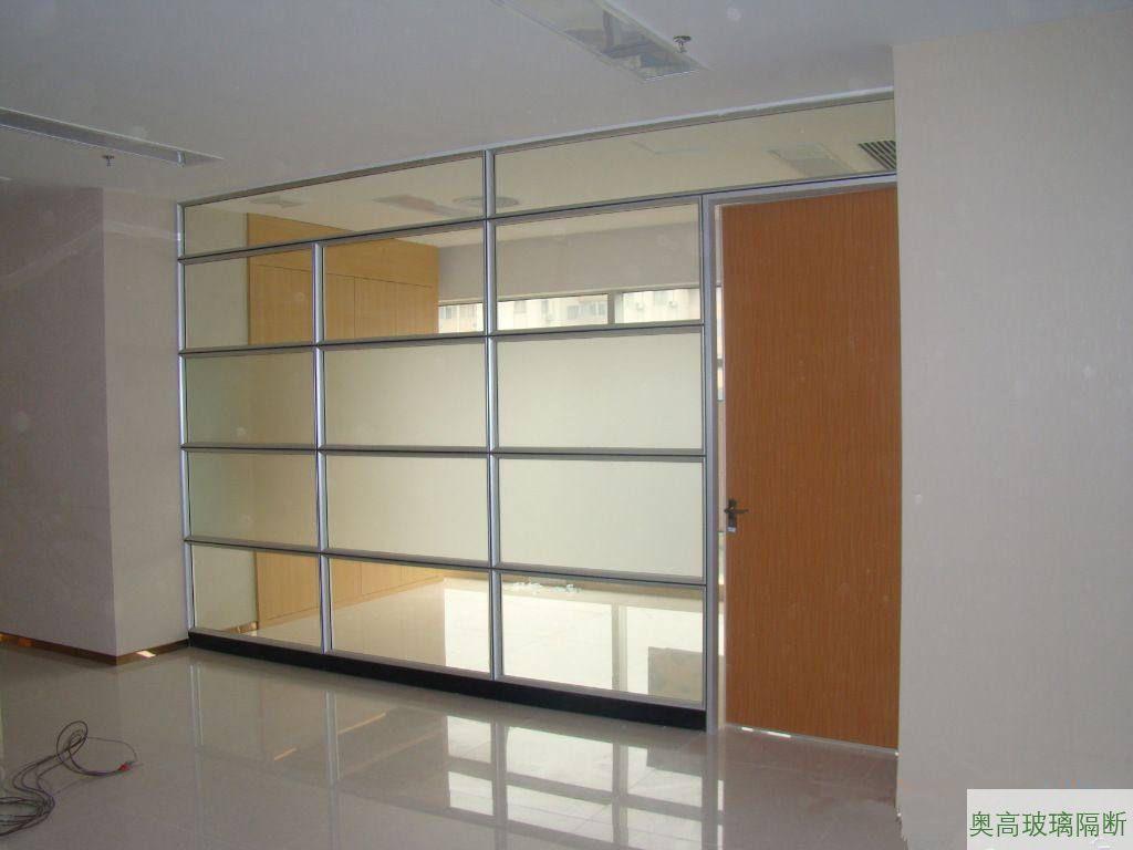 单层分段磨砂玻璃隔墙